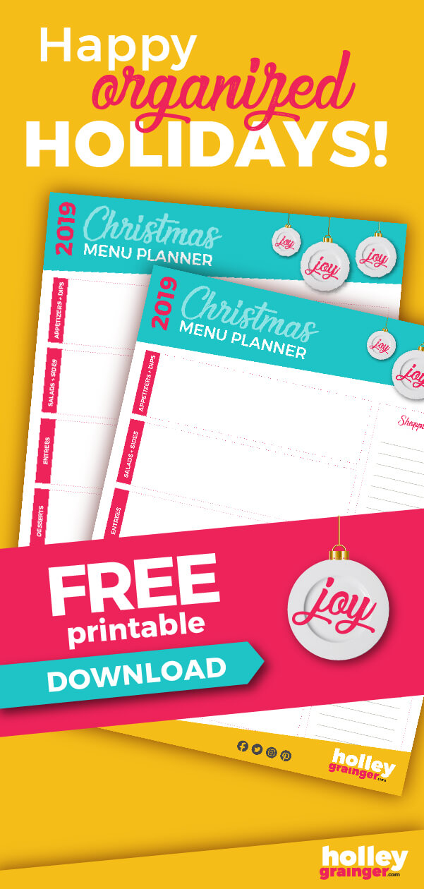 Christmas Menu Planner Free Download from Holley Grainger