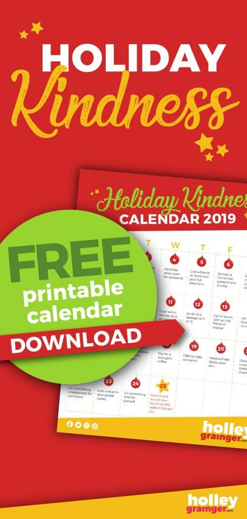 25 Days of Holiday Kindness, Advent Activity Calendar for Kids from Holley Grainger