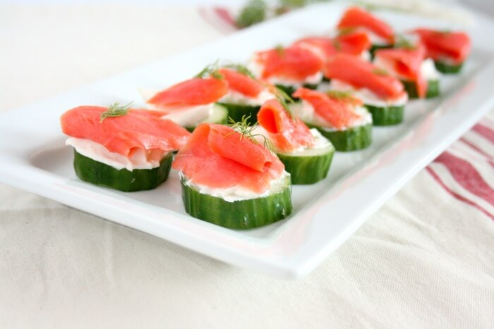 Christmas Party Food Idea: Easy Salmon Cucumber Bites from Holley Grainger