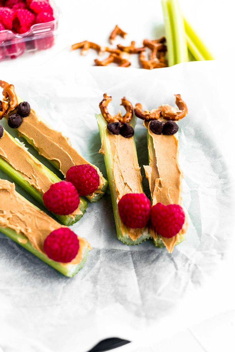 Nut-Free Holiday Snack: Rudolf Celery Reindeer from Holley Grainger