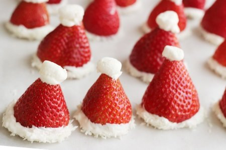 Strawberry Santa Hats - Nut Free Holiday Party Snacks