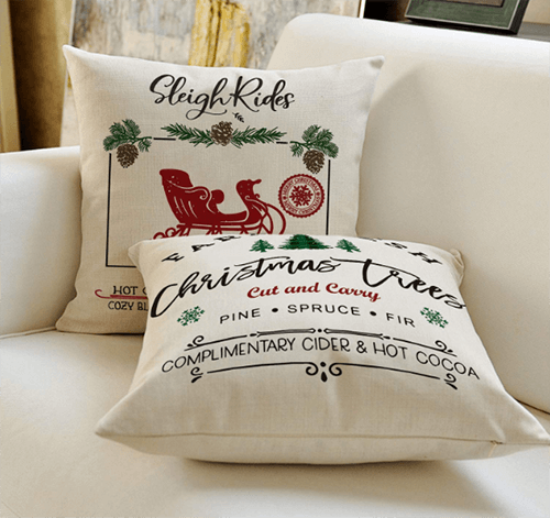 Why bring wine to a party when you could bring a fun Christmas throw pillow?