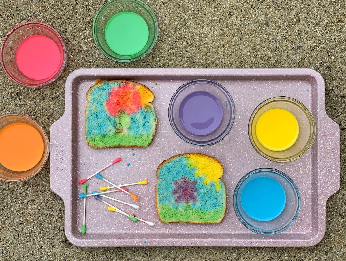 Rainbow Toast with Edible Paint
