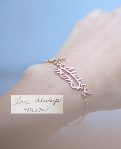 Personalized gift ideas for mother's day - handwriting bracelet
