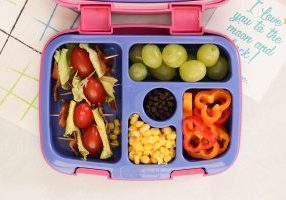 Nut-free BLT Skewer Lunchbox from Holley Grainger