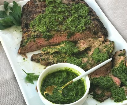 Grilled Flank Steak with Chimichurri Sauce from Holley Grainger - How to Feed a Crowd this Summer