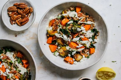 Fall Harvest Bowls with Creamy Thyme Dressing from Holley Grainger