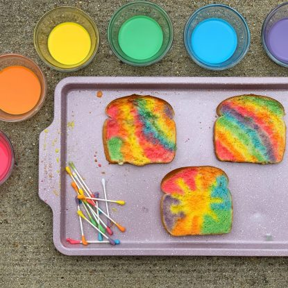 Rainbow Toast with Edible Paint