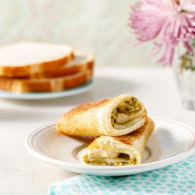 Pesto Grilled Cheese Roll Ups from Holley Grainger