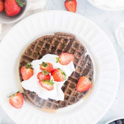 Dark Chocolate Mini Waffles by Nourish Nutrition Blog