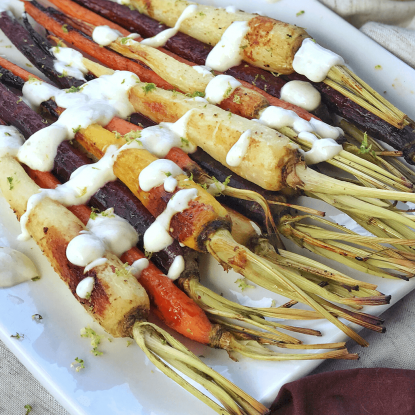 Roasted Carrots with Yogurt Lime Sauce, from Holley Grainger